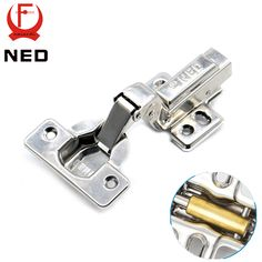 NED Full Size Strong 40MM Cup Hinges Stainless Steel Hydraulic Copper Core Hinge For Cupboard Cabinet Door Furniture Hardware