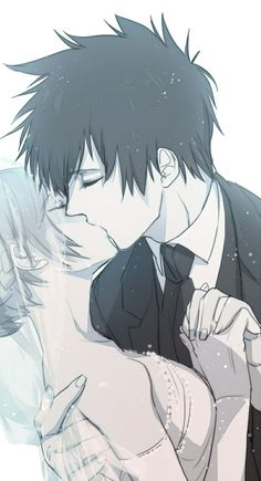 Anime/manga couple on their wedding day, sharing a kiss.