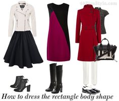 One of the best sights I have ever found to help with figuring out body type....I always thought I was an apple but after doing the calculations I found out I was a rectangle......made my day!.....a must for everyone! How to dress the rectangle body shape – dressing for your body type