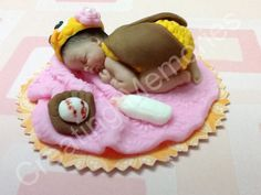BABY SHOWER Owl Cake Topper Yellow and Brown on a Pink Blanket and toys you choose the toys made of Edible Vanilla Fondant, Cake Toppers