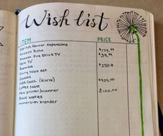 Wish list bullet journal page