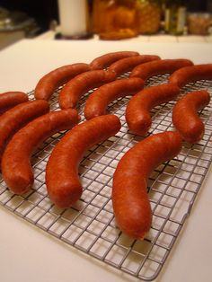 This weekend I thought I'd make small batch of sausages for my son & me. We're the only ones in our household of five who like spicy hot foods. Hot Link Sausage Recipe, Salami Recipes, Homemade Sausage Recipes, Jerky Recipes, Hot Dog Recipes, Venison Recipes, Homemade Cheese, Smoker Recipes, How To Make Sausage