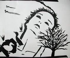 Masking tape art by Kayt Hester
