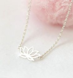 Silver Plated Lotus Flower Necklace