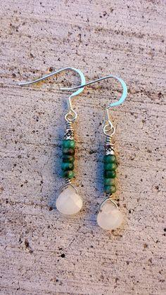 Authentic Turquoise Earrings, Peach Quartz Drop Earrings, Beaded Earrings, Green Turquoise, Gifts For Her, Handmade Turquoise Earrings