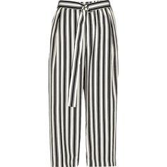 River Island Petite beige stripe print culottes found on Polyvore featuring pants, capris, bottoms, trousers, calças, beige, cropped pants, women, wide-leg pants and white wide pants