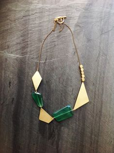 Handcut Geometric Brass Green Onyx Found Necklace-By Loop Jewelry-Asymmetrical-Large-Chunky-Collar-Necklace-Abstract-Jewelry-Green and Gold