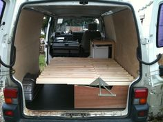 Self made wooden seat beds. Pics please - Page 2 - VW Forum - VW Forum Más Ford Transit Camper, T4 Camper, Camper Beds, Camper Trailers, Eurovan Camper, Mini Camper, Vw T5, Volkswagen, Campervan Bed