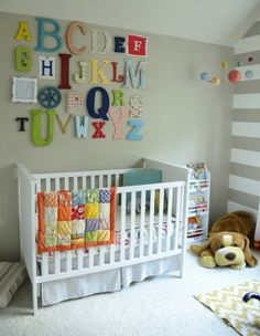 Alphabet Wall Decorating Ideas and White Bedding Sets
