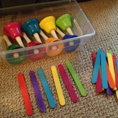 SINGING TIME IDEA: great idea on who gets what bell.Using painted craft sticks for handbell composition. -- great for composition! Use with boomwackers too Preschool Music, Music Activities, Music Games, Music And Movement, Music School, Primary Music, Piano Teaching, Instruments, Elementary Music