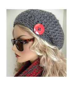 Boho Chic Souchy Hat  Chunky Gray  Hand Crocheted  fall autumn winter fashion accessories