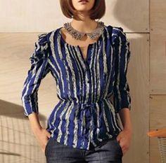 Anthropologie We Love Vera Rochelle Blue White Ruffle Top Shirt Blouse Sz 8 | eBay