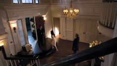 Revenge-Grayson manor foyer...molding and woodwork!