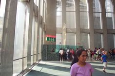 Waiting for the elevator to get to the observation deck, in the lobby of WTC 2 on 8/21/2001.
