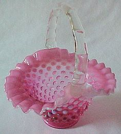 Fenton Glass Basket | Art Glass, Chalet, Cut Glass and Depression Glass.