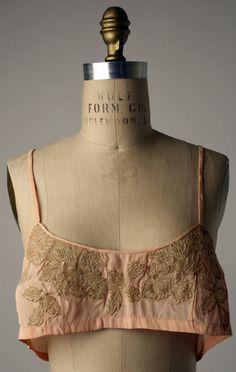 Brassiere French ca. 1920s silk, cotton