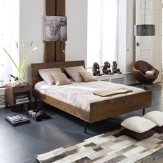 Walnut bed, 160 cm BERKLEY