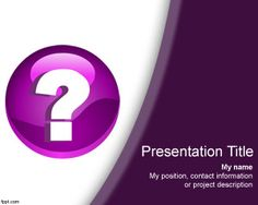 Free Question Mark template with purple background color is a free PPT template that you can download if you need to make awesome PowerPoint presentations for Questions & Answer forums as well as last slides for PPT presentations