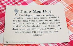 ButtonsandButterflies - Mug Rug Tag                                                                                                                                                                                 More