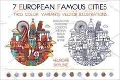 Europ famous cities  by LisaKolbasa on @creativemarket