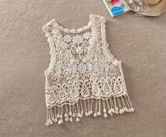 crochet vests for women | Vest For Women Gorgeous Crochet Hollow 100% Cotton Knit Sleeveless ...
