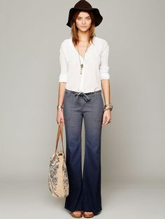Linen pants with pockets, drawstring, button & fly stitching ...