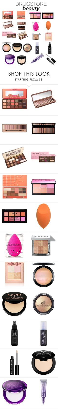 """Drugstore Beauty-Dupes"" by lioness006 ❤ liked on Polyvore featuring beauty, Too Faced Cosmetics, Urban Decay, Charlotte Russe, e.l.f., NARS Cosmetics, NYX, beautyblender, Bobbi Brown Cosmetics and Physicians Formula"