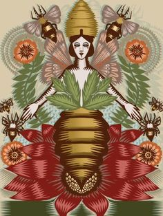 'Austeja' (Lithuanian bee goddess) by illustrator Q. Cassetti