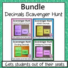 Decimals Scavenger Hunt Bundle: This activity gets students out of their seats.  Students get to work at their own pace and think it's a game. They are  highly motivated to complete a question since they can self-check and  get immediate feedback. Can be used whole group or in a center. Simone's Math Resources.