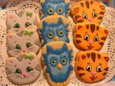 Daniel Tiger and Friends sugar cookies from Snickerdoodle Sweets...They were AMAZING! (Photo was used as inspiration...not actual Snickerdoodle Sweets product!)