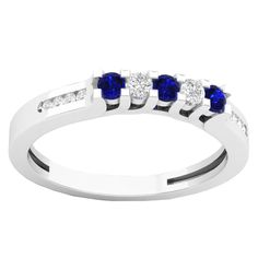 14k Gold 1/3ct TW Round Blue Sapphire and White Diamond Accent Wedding Band (I-J, I2-I3) (Size 10, Yellow Gold), Women's