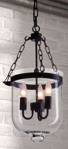 Conjure up the mood of a stately castle with our Masterton Ceiling Lamp. Three flame-shaped bulbs are suspended in an inverted bell jar, recalling the days of gas lamps.
