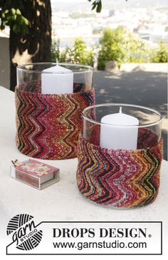 "Candle Color - Knitted DROPS cover for glass vases with stripes and zigzag pattern in ""Fabel"". - Free pattern by DROPS Design"