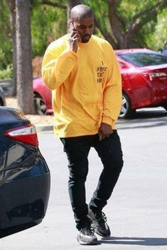 Kanye West wearing Fan Merchandise I Feel Like Kobe Sweater, Acne Ace Cash Jeans, Adidas Yeezy Boost 350 Season 3