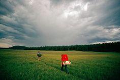 Photos: Hikers trekking across a field