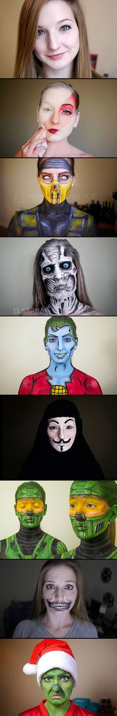 Elsa Rhae is a self-taught make-up artist that transforms her face into a multitude of characters from movies, television shows and video games.