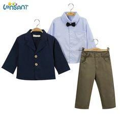 LONSANT Boys Children Clothing Gentleman Sets Handsome Denim Kids Jacket Stripped Tie Shirt Pants 3Pcs/Set 1-9Y Dropshipping #Affiliate