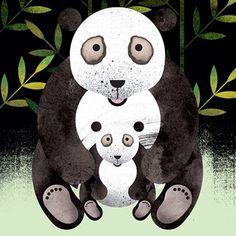 Illustration by Marc Martin. Panda with cub. Mononoke Cosplay, Marc Martin, Phone Cases Marble, Pink Iphone, Diy Videos, Panda Bear, Cubs, Giclee Print, Pandas