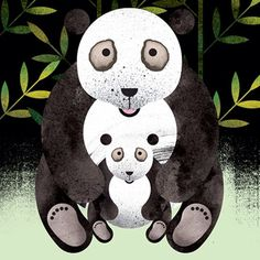 Illustration by Marc Martin. Panda with cub. For those of you who've seen the YouTube video - no sneezing. #illustration #panda #gicleeprint #art #design