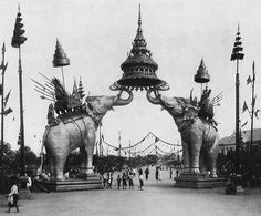 Thailand 1907, monumental pachyderm archway built to welcomed the great Chulalongkorn [King Rama V] home from a European trip