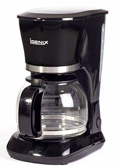 Igenix IG8126 10-Cup Filter Coffee Maker, 800 W - Black 1.5L Capacity Glass Coffee Jug Removable Funnel and Washable Nylon Filter Handle on Funnel and Filter For Easy Use External Water Level Gauge Anti Drip Feature ON/OFFSwit (Barcode EAN = 5016368054741) http://www.comparestoreprices.co.uk/december-2016-3/igenix-ig8126-10-cup-filter-coffee-maker-800-w--black.asp