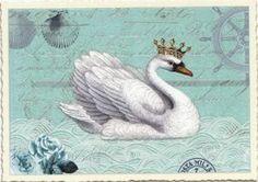 TAUSENDSCHÖN Schwan mit Krone Postkarte
