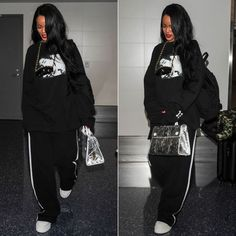 Rihanna Fenty Puma graphic sweatshirt and white platform combat boots, Dior Spring 2016 silver Diorever tote handbag, vintage Chanel chain sunglasses