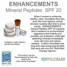 Rodan and Fields mineral peptides powder! Light, medium and dark shades! Enjoy this with the 20spf too! Jessicanicely.myrandf.com