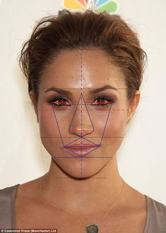 First place: Meghan Markle with 87.4 per cent. Dr Julian De Silva said: 'Meghan has an almost perfectly shaped nose with a 98.5 per cent score, her eye position is exactly right and she has a gorgeous V-shaped or heart-shaped chin which is the shape women most covet'