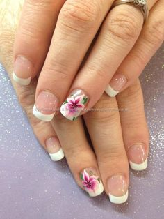 Found another great nail design, re pin and share for others ((TAB)) White gel tips with one stroke flower nail