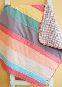 Modern Baby QUILT by PETUNIAS - boy strip stripe blanket nursery decor vintage newborn shower gift room crib bedding