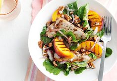 Peaches add sweetness and pecans add a little crunch to this delicious chicken salad that's a great nutrition boost for your growing bump.