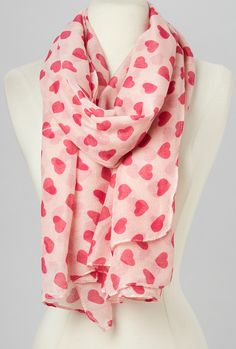 Pink & White Heart Speckle Scarf - this would be awesome for February!