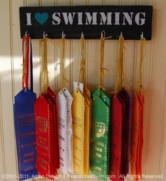 I Love Swimming Ribbon & Medal Hanger - Wood Rack - Customization/Personalization Available from AmboDesign on Etsy. Trophy Display, Award Display, Sign Display, Display Medals, Hanging Medals, Medal Displays, Wall Plaques, Wall Signs, Swim Ribbons